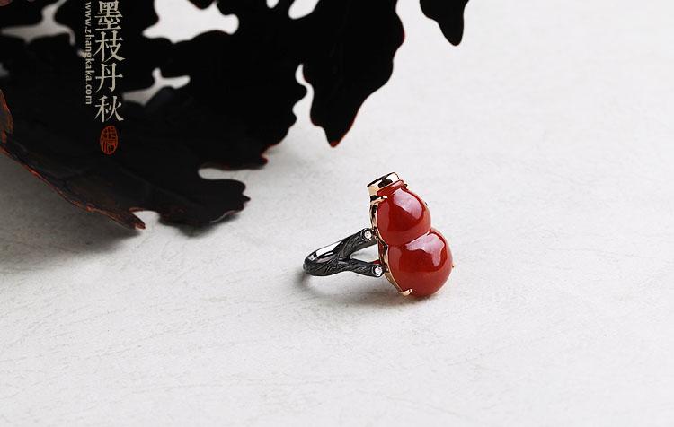 墨枝丹秋 设计款黑金镶嵌红翡翠葫芦戒指挂坠两用款
