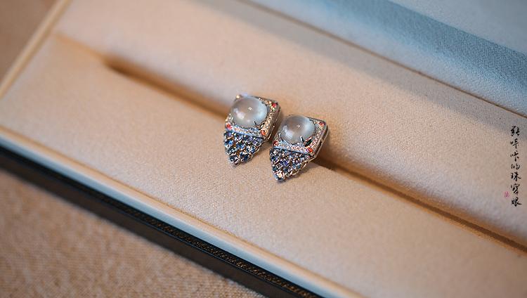 星空童话 白蛋蓝宝石耳环